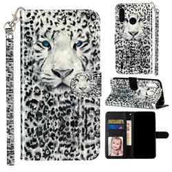 White Leopard 3D Leather Phone Holster Wallet Case for Motorola Moto P40 Play