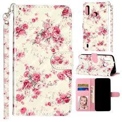 Rambler Rose Flower 3D Leather Phone Holster Wallet Case for Motorola Moto P40 Play