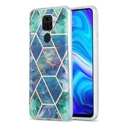 Blue Green Marble Pattern Galvanized Electroplating Protective Case Cover for Xiaomi Redmi 10X 4G