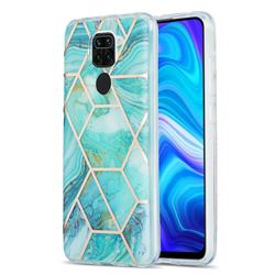Blue Sea Marble Pattern Galvanized Electroplating Protective Case Cover for Xiaomi Redmi 10X 4G