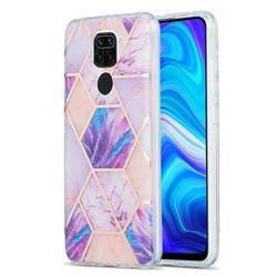 Purple Dream Marble Pattern Galvanized Electroplating Protective Case Cover for Xiaomi Redmi 10X 4G