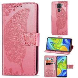 Embossing Mandala Flower Butterfly Leather Wallet Case for Xiaomi Redmi 10X 4G - Pink