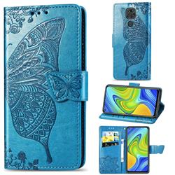 Embossing Mandala Flower Butterfly Leather Wallet Case for Xiaomi Redmi 10X 4G - Blue