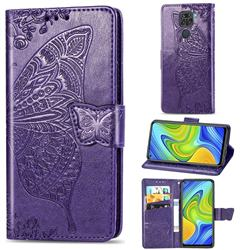Embossing Mandala Flower Butterfly Leather Wallet Case for Xiaomi Redmi 10X 4G - Dark Purple