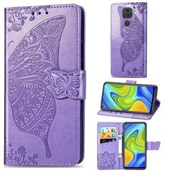 Embossing Mandala Flower Butterfly Leather Wallet Case for Xiaomi Redmi 10X 4G - Light Purple
