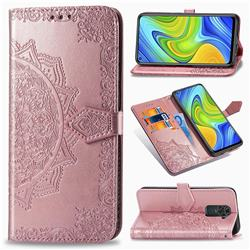 Embossing Imprint Mandala Flower Leather Wallet Case for Xiaomi Redmi 10X 4G - Rose Gold