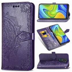 Embossing Imprint Mandala Flower Leather Wallet Case for Xiaomi Redmi 10X 4G - Purple