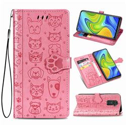 Embossing Dog Paw Kitten and Puppy Leather Wallet Case for Xiaomi Redmi 10X 4G - Pink