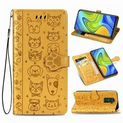 Embossing Dog Paw Kitten and Puppy Leather Wallet Case for Xiaomi Redmi 10X 4G - Yellow