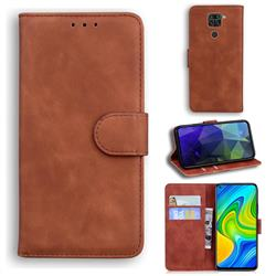 Retro Classic Skin Feel Leather Wallet Phone Case for Xiaomi Redmi 10X 4G - Brown