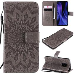 Embossing Sunflower Leather Wallet Case for Xiaomi Redmi 10X 5G - Gray