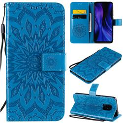 Embossing Sunflower Leather Wallet Case for Xiaomi Redmi 10X 5G - Blue