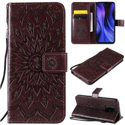 Embossing Sunflower Leather Wallet Case for Xiaomi Redmi 10X 5G - Brown