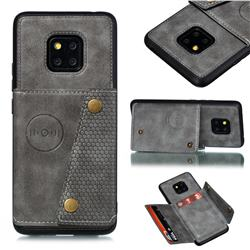 Retro Multifunction Card Slots Stand Leather Coated Phone Back Cover for Xiaomi Redmi 10X 5G - Gray