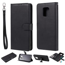 Retro Greek Detachable Magnetic PU Leather Wallet Phone Case for Xiaomi Redmi 10X 5G - Black