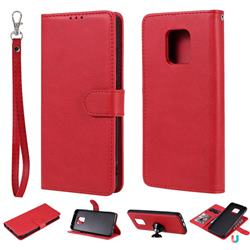 Retro Greek Detachable Magnetic PU Leather Wallet Phone Case for Xiaomi Redmi 10X 5G - Red