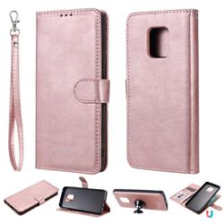 Retro Greek Detachable Magnetic PU Leather Wallet Phone Case for Xiaomi Redmi 10X 5G - Rose Gold