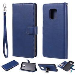 Retro Greek Detachable Magnetic PU Leather Wallet Phone Case for Xiaomi Redmi 10X 5G - Blue