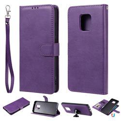 Retro Greek Detachable Magnetic PU Leather Wallet Phone Case for Xiaomi Redmi 10X 5G - Purple