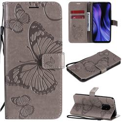 Embossing 3D Butterfly Leather Wallet Case for Xiaomi Redmi 10X 5G - Gray