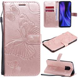 Embossing 3D Butterfly Leather Wallet Case for Xiaomi Redmi 10X 5G - Rose Gold