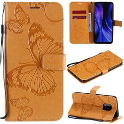 Embossing 3D Butterfly Leather Wallet Case for Xiaomi Redmi 10X 5G - Yellow