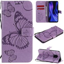 Embossing 3D Butterfly Leather Wallet Case for Xiaomi Redmi 10X 5G - Purple