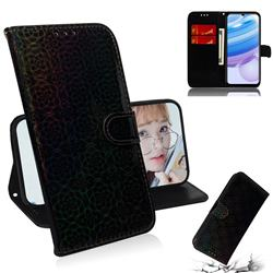 Laser Circle Shining Leather Wallet Phone Case for Xiaomi Redmi 10X 5G - Black