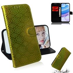 Laser Circle Shining Leather Wallet Phone Case for Xiaomi Redmi 10X 5G - Golden