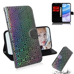 Laser Circle Shining Leather Wallet Phone Case for Xiaomi Redmi 10X 5G - Silver