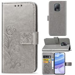 Embossing Imprint Four-Leaf Clover Leather Wallet Case for Xiaomi Redmi 10X Pro 5G - Grey