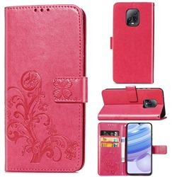 Embossing Imprint Four-Leaf Clover Leather Wallet Case for Xiaomi Redmi 10X Pro 5G - Rose Red