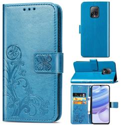 Embossing Imprint Four-Leaf Clover Leather Wallet Case for Xiaomi Redmi 10X Pro 5G - Blue