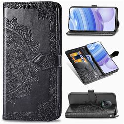 Embossing Imprint Mandala Flower Leather Wallet Case for Xiaomi Redmi 10X Pro 5G - Black