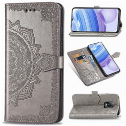 Embossing Imprint Mandala Flower Leather Wallet Case for Xiaomi Redmi 10X Pro 5G - Gray