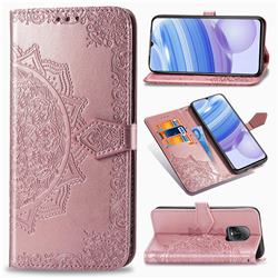 Embossing Imprint Mandala Flower Leather Wallet Case for Xiaomi Redmi 10X Pro 5G - Rose Gold