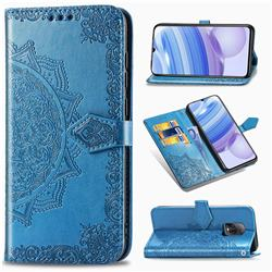 Embossing Imprint Mandala Flower Leather Wallet Case for Xiaomi Redmi 10X Pro 5G - Blue