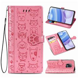 Embossing Dog Paw Kitten and Puppy Leather Wallet Case for Xiaomi Redmi 10X Pro 5G - Pink
