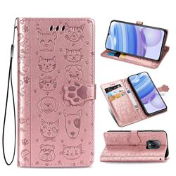 Embossing Dog Paw Kitten and Puppy Leather Wallet Case for Xiaomi Redmi 10X Pro 5G - Rose Gold