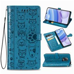 Embossing Dog Paw Kitten and Puppy Leather Wallet Case for Xiaomi Redmi 10X Pro 5G - Blue