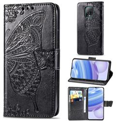 Embossing Mandala Flower Butterfly Leather Wallet Case for Xiaomi Redmi 10X Pro 5G - Black