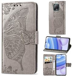 Embossing Mandala Flower Butterfly Leather Wallet Case for Xiaomi Redmi 10X Pro 5G - Gray