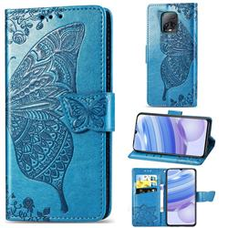 Embossing Mandala Flower Butterfly Leather Wallet Case for Xiaomi Redmi 10X Pro 5G - Blue