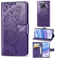 Embossing Mandala Flower Butterfly Leather Wallet Case for Xiaomi Redmi 10X Pro 5G - Dark Purple