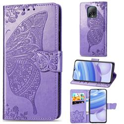 Embossing Mandala Flower Butterfly Leather Wallet Case for Xiaomi Redmi 10X Pro 5G - Light Purple