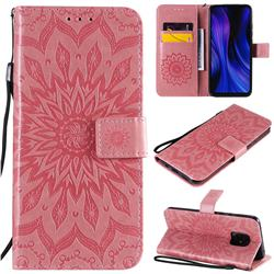 Embossing Sunflower Leather Wallet Case for Xiaomi Redmi 10X Pro 5G - Pink