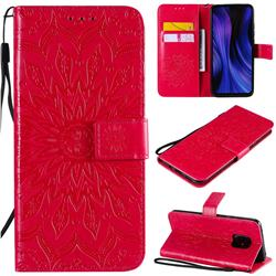 Embossing Sunflower Leather Wallet Case for Xiaomi Redmi 10X Pro 5G - Red