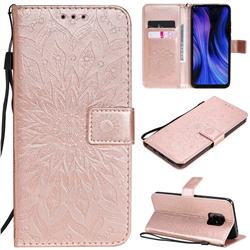 Embossing Sunflower Leather Wallet Case for Xiaomi Redmi 10X Pro 5G - Rose Gold
