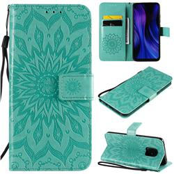 Embossing Sunflower Leather Wallet Case for Xiaomi Redmi 10X Pro 5G - Green