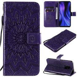 Embossing Sunflower Leather Wallet Case for Xiaomi Redmi 10X Pro 5G - Purple